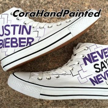 Never Say Never Custom Converse Hand Painted Shoes White Purple Canvas Shoes Custom Un