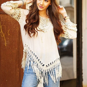 New V-neck crochet openwork stitching loose cotton knit fringed shirt = 1958222788