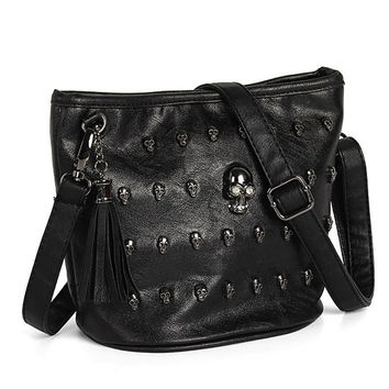 Skull Face Studs Punk Rivet Shoulder Bag PU Leather Goth Tassels Vintage Messenger Tote Handbag For Women Girl