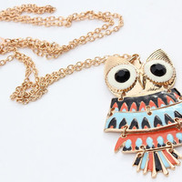 Long Owl Necklace - Rose Gold Multicolored Owl Charm Long Chain Necklace