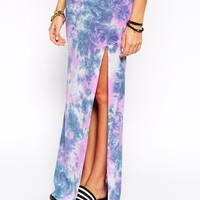 ASOS Maxi Skirt With Thigh Split In Tie Dye