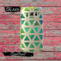 Triangle Watercolor Pattern Green Turquoise Tumblr Inspired Cute Clear Galaxy S6 Case and Clear Galaxy S6 Edge Case Galaxy S7 and S7 Edge