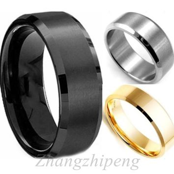 New Arrival Cool Simple Men Ring Black Gold Silver 3 Colors Stainless Steel Retro Polishing Male Finger Ring Party Wedding Fashi