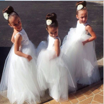 Cheap 2016 summer white tulle wedding party dress flower children dress flower girl dress