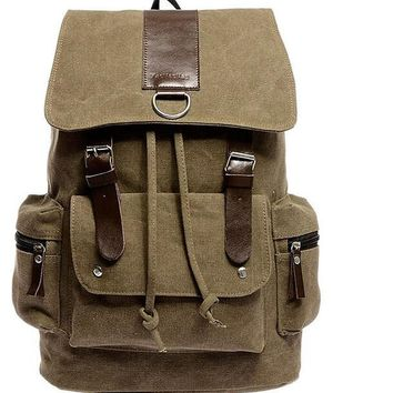 Vintage Canvas Leather  Travel Backpack Bag