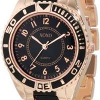 XOXO Women's XO5468 Rose-Gold Tone And Black Bracelet Watch