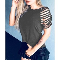 New fashion solid color short sleeve top women Dark gray