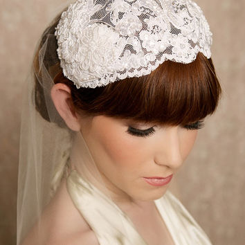 White Lace Bridal Cap, beaded lace veil, juliet cap, bridal hair piece, lace wedding juliette cap - Ready to Ship - White Lace Headpiece
