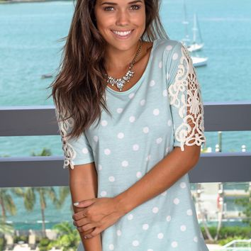 Mint Polka Dot Top with Crochet Sleeves