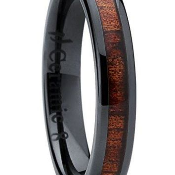 Metal Masters Co Womens Black Ceramic Dome Wedding Band Ring with Real Koa Wood Inlay 4mm Comfort Fit
