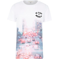 River Island MensWhite Brooklyn print t-shirt