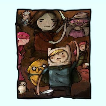 Adventure Time Lord Of The Rings Fleece Blanket