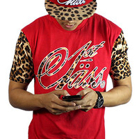 1st Class Cut Sewn Leopard Sleeve Logo Shirt Red
