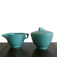 Vintage Melmac Sugar Bowl and Creamer Set Robins Egg Blue - Mid Century Kitchen Decor Made in USA for Darien by Westinghouse