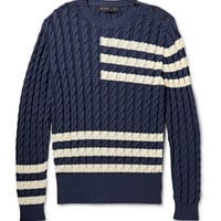 Etro - Striped Cable-Knit Cotton and Cashmere-Blend Sweater | MR PORTER