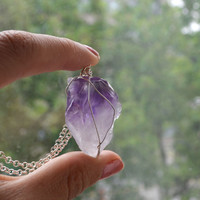 Amethyst Wire Wrapped Stone, Mineral Jewelry, Purple Stone Necklace, Crystals