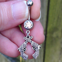 Belly ring with gun charm