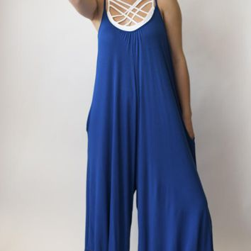Cropped Wide Leg Jumpsuit - Royal Blue