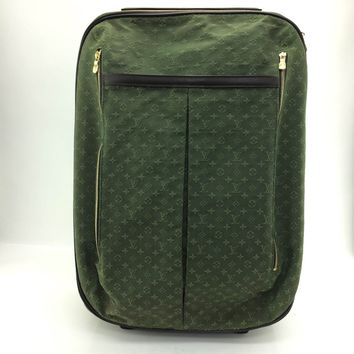 AUTH Louis Vuitton Canvas leather Annette Monogram Mini green Carrying Bag