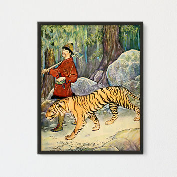 Tiger Printable Wall Art, Children Book Illustration, Kids Room Decor, Gallery Wall Decor, Vintage Print, Story Book Art, Tiger and Man Art