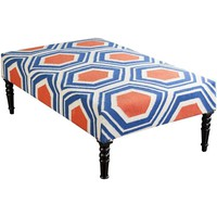 Hexagon Orange and Blue Upholstered Bench