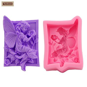 1Pcs Angel Girl 3D Silicone Mould Fondant Mold DIY Cake Molds Baking Decorating Tools, Silicone Soap Suagarcraft Form Mold Mould