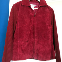 SALE!   Red Suede Jacket with Knitted Arms Excellent Condition
