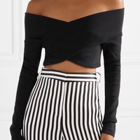 Opening Ceremony - Cropped off-the-shoulder ribbed cotton-blend top