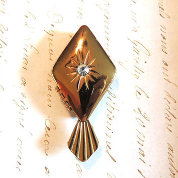 Art Deco Sunburst Rhinestone Pill Box or Solid Perfume Vintage Accessory
