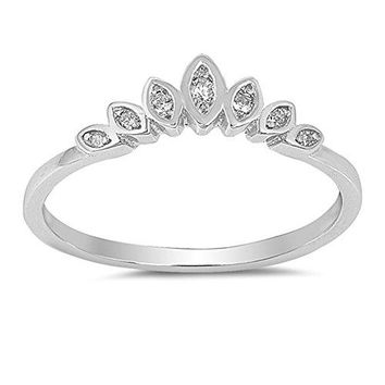 Clear CZ Lotus Flower Tiara Ring 925 Sterling Silver Marquise Band Sizes 410