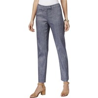 Anne Klein Womens Linen Blend Twill Ankle Pants