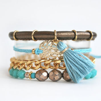 Bohemian bracelet stack, gold and turquoise set of bracelets, arm candy, stacking bracelets, boho chic festival jewelry