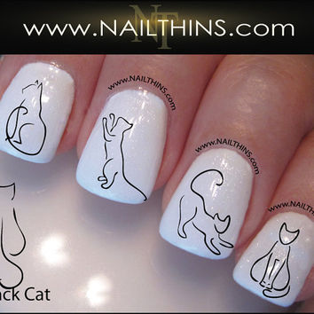Black Cat Nail Decal Kitty Nail Art  Nail Designs NAILTHINS