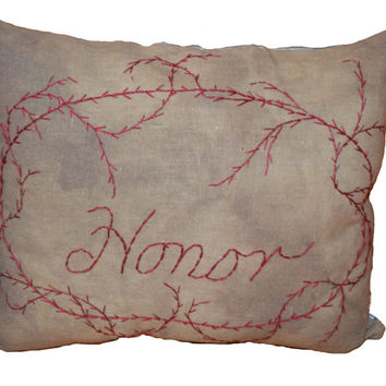 Honor Pillow, Throw Pillow,  Rustic Home Decor, Accent Pillow, Stitchery Pillow, Decorative Pillow, Folk Art, Primitive Pillow, Birthday