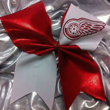 "3"" Cheer Bow- Detroit red wings"