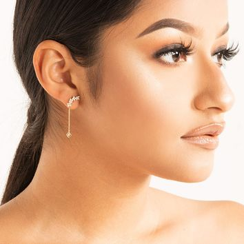 Curved Jewel Dangling Back Chain Stud Earring in Gold Clear