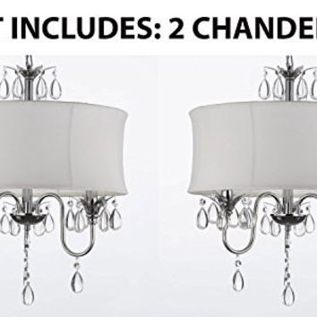 Set Of 2 - White Drum Shade Crystal Ceiling Chandelier Pendant Light Fixture Lighting Lamp - A7-White/834/3-Set Of 2
