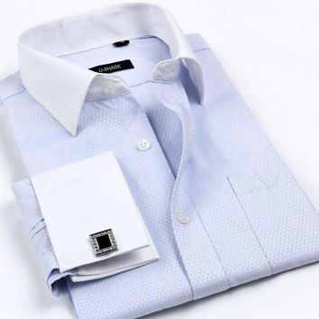 New men's Solid Business French cufflinks Tuxedo shirt cotton male blouse shirts men long sleeve  Large size S-4XL clothing