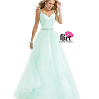 (PRE-ORDER) Flirt by Maggie Sottero 2014 Prom Dresses-Sweet Mint Tulle Ball Gown with Ruched Tulle & Jeweled Straps