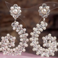 royal wedding earring ,chandelier earrings wedding inlaid with clear white crystals