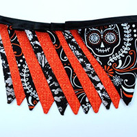 Skull and Bat Halloween Pennant Banner