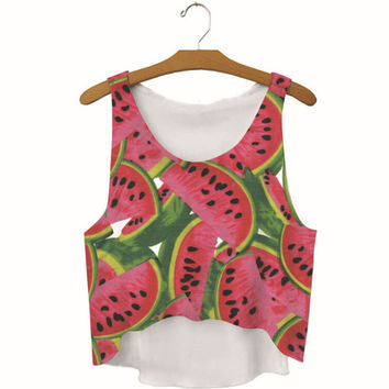 Summer Womens Watermelon Printed Slim Show Hilum Tank Top Sports Vest Gift - 31