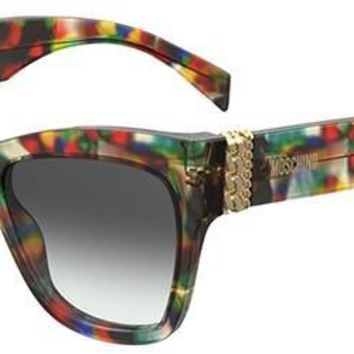 Moschino - Mos 011 S Purple Black Multicolor Sunglasses / Dark Gray Gradient Lenses
