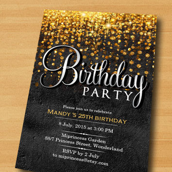 Elegant Birthday Invitation Glitter Gold Any Age 40th 50th 60th 70th 80th 9