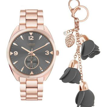Catherine Catherine Malandrino | Women's Crystal Embellished Bracelet Watch and Key Chain 2-Piece Set | Nordstrom Rack