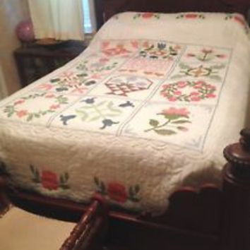 Bucilla Cross Stitch Size Queen / King Complete Finished Quilt COUNTRY PATCHWORK