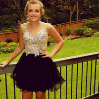 Black Homecoming Dress, Black Short Beading Homecoming Dress