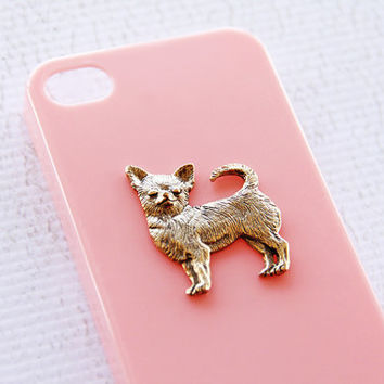 Chihuahua Apple iPhone 4 and 4S Hip Ladies Pink Cell Case with Gold Plating iPhone 6 Plus Case