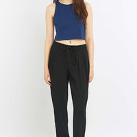 Light Before Dark Zip-Front Black Trousers - Urban Outfitters