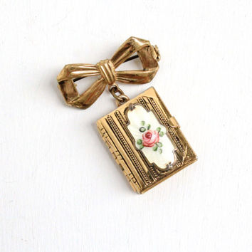 Sale Antique Book Locket Bow Pin- Vintage Gold Tone Guilloché 1940s Brooch 6 Pages for Pictures & Original Photographs Enamel Flower Jewelry